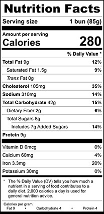 Nutrition Facts forEgg Sesame Hamburger Bun Jumbo, Sliced
