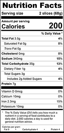 Nutrition Facts for Franklin White Vienna Narrow, Sliced