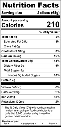 "Nutrition Facts for Wheat Vienna Narrow, 1/2"" Sliced"
