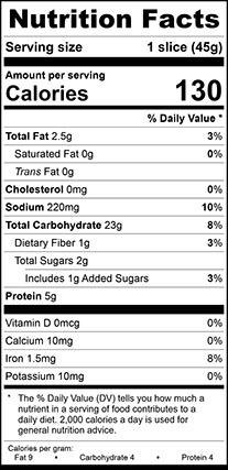Nutrition Facts for Franklin White Vienna Narrow, Thick Sliced