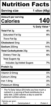 "Nutrition Facts for Wheat Vienna Narrow, Thick 3/4"" Sliced"
