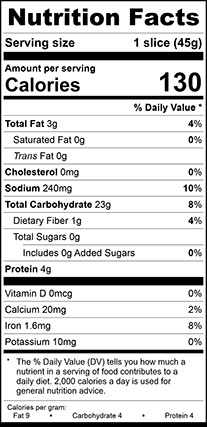 """Nutrition Facts for Sourdough Vienna Narrow, 3/4"""" Thick Sliced"""