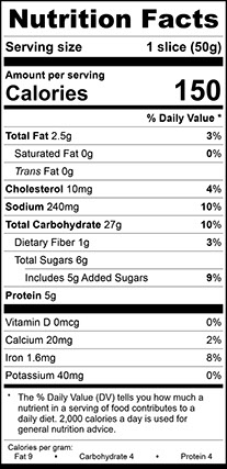 Nutrition Facts for Milk Style Vienna Narrow Bread