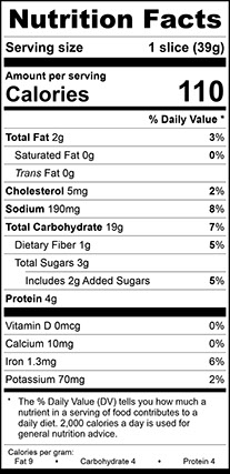 """Nutrition Facts for Wheat Vienna Wide, 1/2"""" Sliced"""