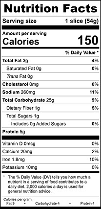 """Nutrition Facts for Sourdough Vienna Wide, 3/4"""" Thick Sliced"""