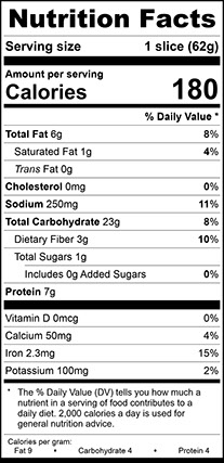 Nutrition Facts for Multigrain Sourdough Vienna Narrow, Sliced