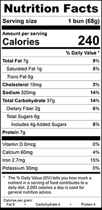 Nutrition Facts for Sesame Seed Burger Bun Large, Sliced