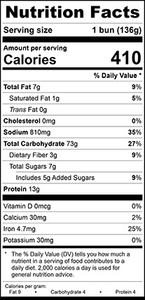 Nutrition Facts for Potato Hoagie 8 Inch