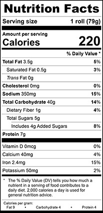 Nutrition Facts for Light Wheat Hoagie 5 Inch