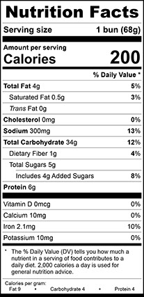 Nutrition Facts for Homestyle Bun Glossy, Large Sliced