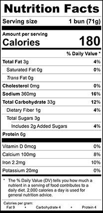 Nutrition Facts for Potato Hamburger Bun Large, Sliced