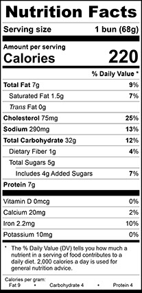 Nutrition Facts for Brioche Bun Large, Sliced
