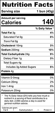 Nutrition Facts for Stadium Hot Dog Bun, Sliced