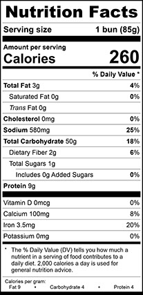 Nutrition Facts for Ciabatta Dinner Roll