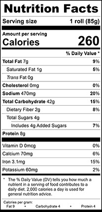 Nutrition Facts for Herb Focaccia Square 4.5 Inch