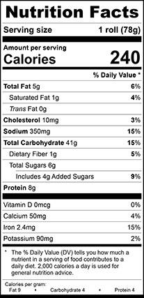 Nutrition Facts for Wheat Ciabatta Bun, Sliced