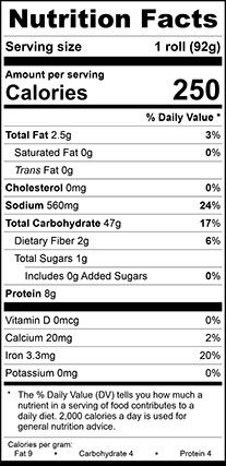 Nutrition Facts for Ciabatta Sandwich Roll, Unsliced
